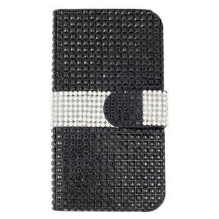 Insten Black/ Silver Leather Diamond Bling Case Cover with Wallet Flap Pouch For Samsung Galaxy Note 5