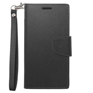 Insten Black Leather Case Cover Lanyard with Stand/ Wallet Flap Pouch For Samsung Galaxy S5