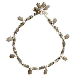 Handcrafted Sterling Silver 'Intuitive' Labradorite Anklet (India)