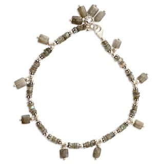 Handmade Sterling Silver 'Intuitive' Labradorite Anklet (India)