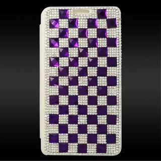 Insten Silver/ Purple 3D Leather Diamond Bling Case Cover with Wallet Flap Pouch For Samsung Galaxy Note 4
