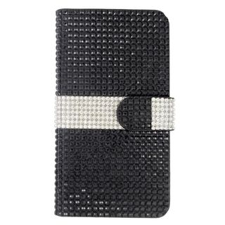 Insten Black/ Silver Leather Diamond Bling Case Cover with Wallet Flap Pouch For Samsung Galaxy S6 Edge Plus