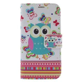 Insten Colorful Owl Leather Case Cover with Stand/ Wallet Flap Pouch/ Photo Display For Samsung Galaxy S6 Edge