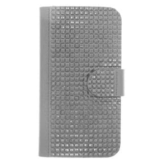 Insten Black Leather Diamond Bling Case Cover with Wallet Flap Pouch For Samsung Galaxy S6 Edge