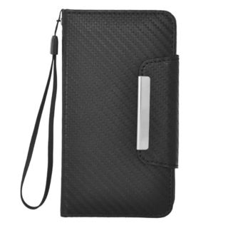Insten Black Carbon Fiber Leather Case Cover Lanyard with Wallet Flap Pouch For Samsung Galaxy S5