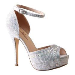 Women's Lauren Lorraine Venetian Ankle Strap Stiletto Silver Fabric/Polyurethane