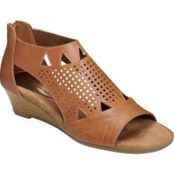 Women's Aerosoles Yeticulous Wedge Sandal Tan Faux Leather