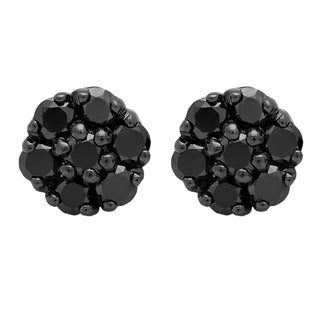 Elora Black Rhodium-plated 0.625-karat Round Cut Diamond Cluster Sterling Silver Stud Earrings