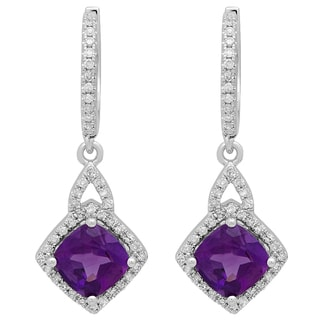 Elora 14k White Gold 2.875 ct Cushion Amethyst and Round-cut White Diamond Halo-style Dangling Drop Earrin