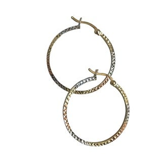 14k Tri-Color Gold Hammered Earrings