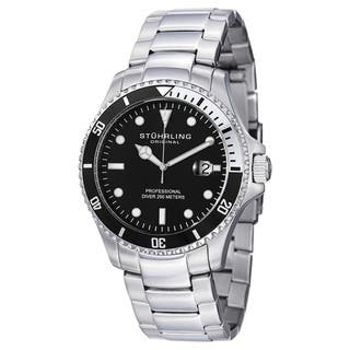 Stuhrling Original Men's Swiss Quartz Regatta Elite Divers Watch with Stainless Steel Link Bracelet|https://ak1.ostkcdn.com/images/products/11900795/P18794619.jpg?impolicy=medium