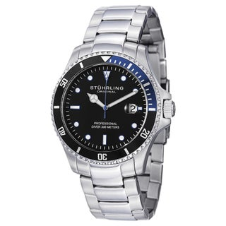 Stuhrling Original Men's Swiss Quartz Regatta Elite Divers Watch with Stainless Steel Link Bracelet