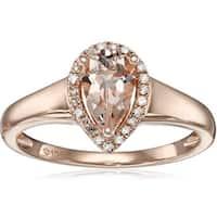 Pinctore 10k Rose Gold Morganite and Diamond Princess Diana Pear Halo Ring - Pink
