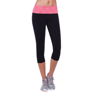 Nikibiki Activewear Women's Black and Pink Nylon/Spandex Yoga Capri Pants