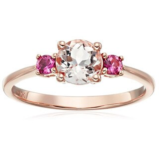 Pinctore 10k Rose Gold Morganite and Pink Tourmaline Solitaire Engagement Ring