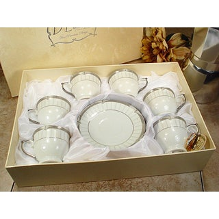 D'Lusso Designs White Porcelain 12-Piece Classic Design Espresso Set