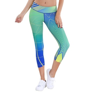 Nikibiki Activewear Women's Abstract Sublimation Blue/Green Nylon/Spandex Capri Legging