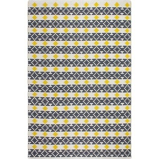 Fab Habitat Recycled Cotton Westminster Yellow and Grey Rug (2' x 3')