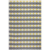 Handmade Fab Habitat Recycled Cotton Westminster Yellow and Grey Rug (India)