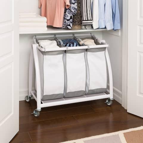 Premium 3-Bag Heavy-Duty Tilt Laundry Hamper Sorter Cart