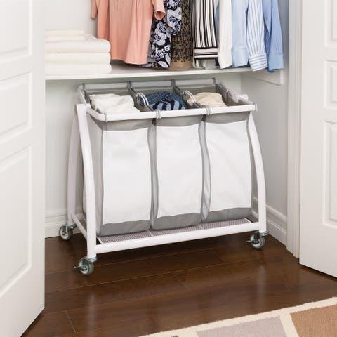 Seville Classics Premium 3-Bag Heavy-Duty Tilt Laundry Hamper Sorter Cart