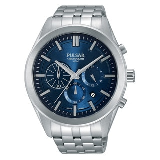 Pulsar Men's Silver Stainless Steel Blue Chronograph Dial Watch