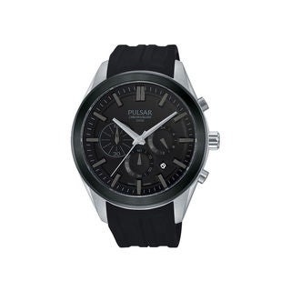 Pulsar Men's Chronograph Dial Black Silicone Strap Quartz Watch