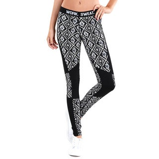 Nikibiki Women's Blue and Black Nylon/Spandex Activewear Tribal Colorblocked Long Pants