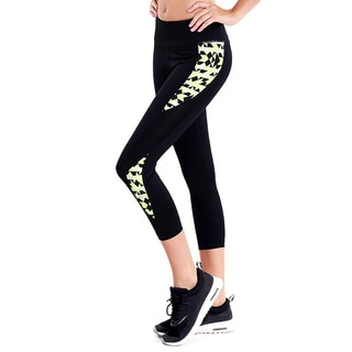 Nikibiki Women's Neon Geo Black, Yellow and Orange Nylon/Spandex Print Paneled Capri Activewear