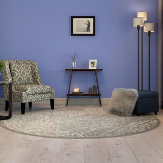 "Admire Home Living Plaza Mia Grey Round Area Rug (7'10"")"