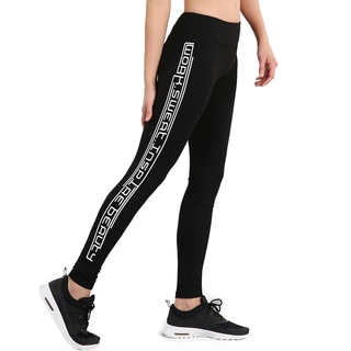 Nikibiki Women's Black Nylon/Spandex Activewear Athletic Striped Print Pants