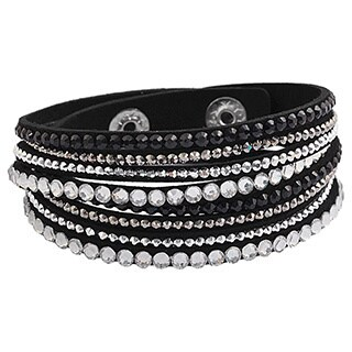 Layored Rhinestones Multicolor Options Wraparound Velvet Bracelet