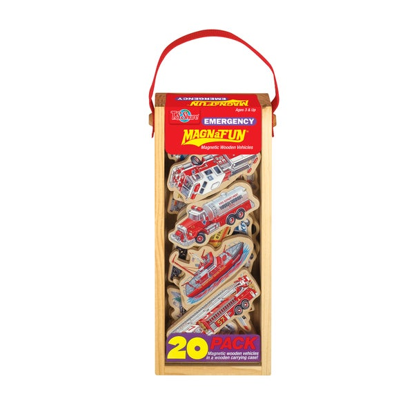T.S. Shure Emergency Vehicles Wooden Magnets 20-piece MagnaFun Set