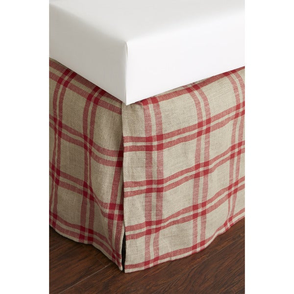 Neil Red Plaid Linen 18-inch Drop Bed Skirt