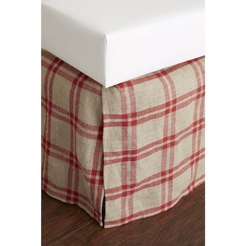 Neil Red Plaid Linen 18-inch Drop 3 Piece Tuck in Bed Skirt