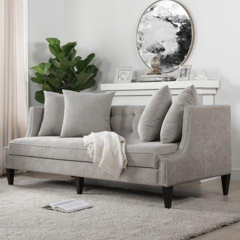 Caroline 82' Recessed Tuxedo Studded Sofa by Jennifer Taylor Home