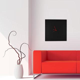 Adam Schwoeppe 'Blackout Square Clock Large' Minimalist Modern Black Wall Decor