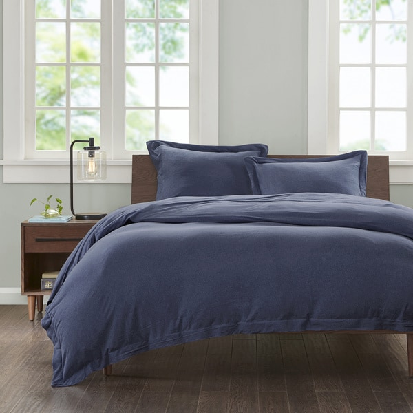 INK+IVY Heathered Cotton Jersey Knit Duvet Cover Mini Set