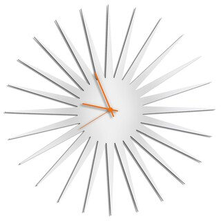 Adam Schwoeppe 'MCM Starburst Clock - White' Midcentury Modern Style Wall Decor (Option: Orange/White)