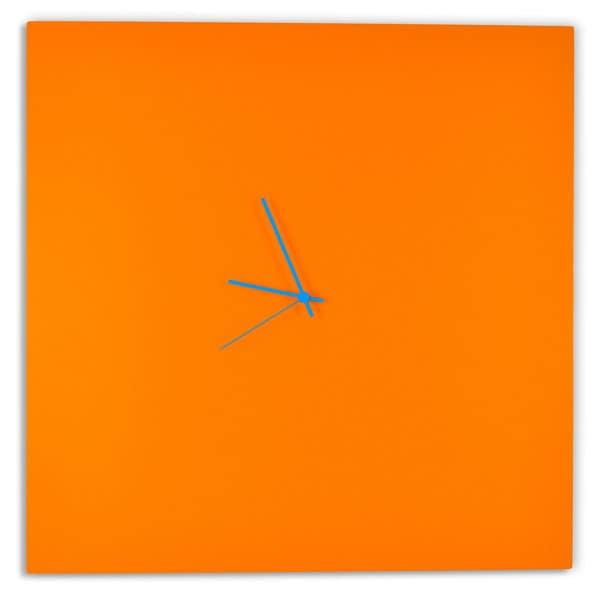 Adam Schwoeppe 'Orangeout Square Clock Large' Minimalist Orange Wall Decor