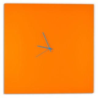 Adam Schwoeppe 'Orangeout Square Clock Large' Minimalist Orange Wall Decor