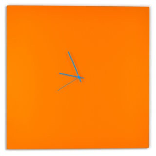 Adam Schwoeppe 'Orangeout Square Clock Large' Minimalist Orange Wall Decor (3 options available)