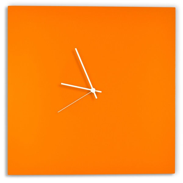 Adam Schwoeppe 'Orangeout Square Clock' Minimalist Orange Wall Decor