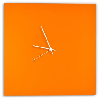 Adam Schwoeppe 'Orangeout Square Clock' Minimalist Orange Wall Decor