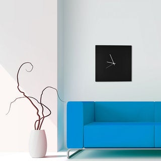 Adam Schwoeppe 'Blackout Square Clock' Minimalist Modern Black Wall Decor