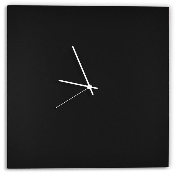 Adam Schwoeppe 'Blackout Square Clock' Minimalist Modern Black Wall Decor