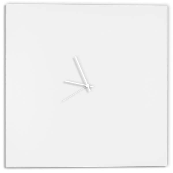 Modern White Clock Part - 16: Adam Schwoeppe U0027Whiteout Square Clock Largeu0027 Minimalist Modern White Wall  Decor - Free Shipping Today - Overstock.com - 18795219