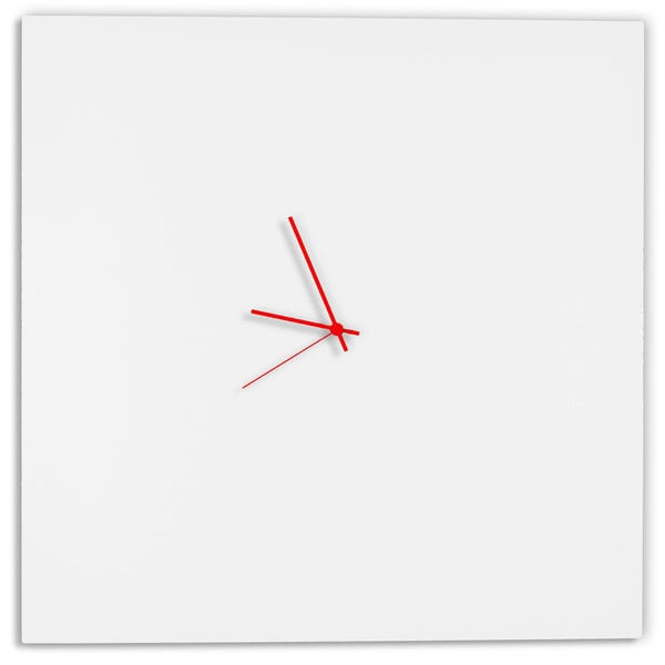 Adam Schwoeppe 'Whiteout Square Clock Large' Minimalist Modern White Wall Decor