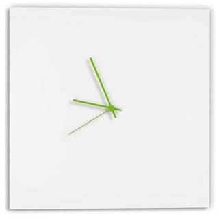 Adam Schwoeppe Whiteout Square Clock Minimalist Modern White Wall Decor (Green/White)