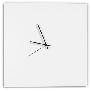 Adam Schwoeppe 'Whiteout Square Clock' Minimalist Modern White Wall Decor|https://ak1.ostkcdn.com/images/products/11901530/P18795220.jpg?_ostk_perf_=percv&impolicy=medium